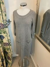 Jaeger Size 16 grey jersey stretch long tall smock dress smart casual loose fit