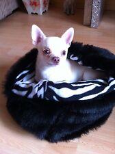 CHIHUAHUA PUG DOG PET BED BLACK FAUX FUR SNUGGLE SAK SACK PUPPY HUG 🇬🇧