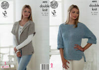 Double Knitting Pattern Womens Cardigan & Batwing Sleeve Jumper King Cole 4892