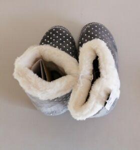 Debenhams-Grey Faux Fur Foil Star Print Slipper Boots size 7-8 {H22}