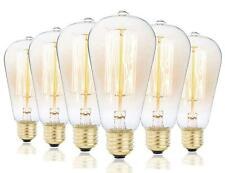 Rolay Vintage Edison Bulbs - 6 Pack - ST64 - Squirrel Cage Filament - 60W