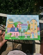Original colorful cute painting of a small village with a café and golf course