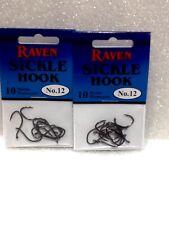 Raven Sickle Hooks Size 12, Salmon Steelhead, 20 Hooks