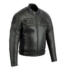 Veste En Cuir Moto Homme Vintage Cafe Racer Jacke Blouson Rocker Retro Noir