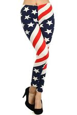 NEW TEXTURE AMERICAN FLAG PRINT STRETCHY PANTS,LEGGINGS,STRETCH - 827PT326