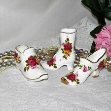 VINTAGE FINE BONE CHINA SHOE SLIPPER BOOT 3 MINIATURE PINK YELLOW COUNTRY ROSES