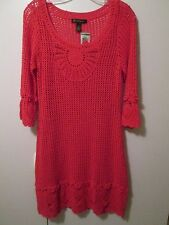 $119 INC Coral Clay Red Crochet Lined In Voyage Party Casual Dress Size L NWT