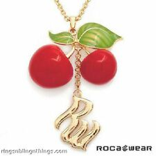 LADIES ROCA WEAR GOLD PLATED NECKLACE CHERRIES W/FLAG