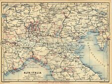 Antique map North Italy / mappa antica Alta Italia 1928