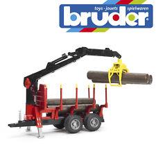 Bruder Forestry Trailer & Loading Crane 4 Trunks Kids Toy Model Scale 1:16