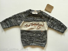 BNWT Timberland Baby 100% Pure Cotton Jumper Top Size 6 Month Grey & Cream Knit