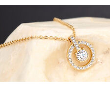 18K GOLD PLATED ROUND DIAMOND CENTERPIECE SPARKLING HALO CIRCLE WEDDING NECKLACE