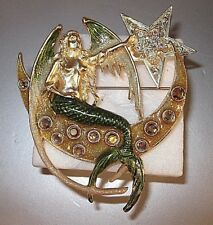 """KIRKS FOLLY VERY RARE/SIGNED """"MERMAID SITTING ON CRESCENT MOON BROOCH"""" FABULOUS!"""