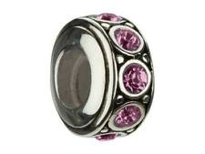 Chamilia 925 Retired Swarovski Crystal February Birthstone Wheel Charm Bead I-50
