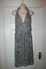 Ladies Black & White Animal Print Dress Size L Wedding Christening