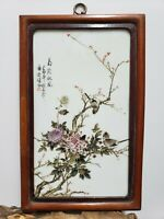 Fine Chinese Porcelain Famille Rose Plaque {Brid&Chrysanthemum}
