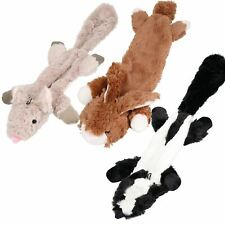 Set of 3 Plush Soft Unstuffed Chipmunk, Skunk & Rabbit Dog Toy With Squeak