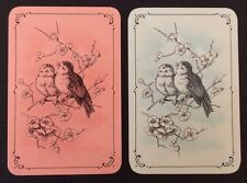 Pair of Vintage Swap/Playing Cards - LOVELY BIRDS - Miniature Size - Mint Cond