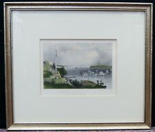 "William Henry Bartlett/R.Wallis ""New York Bay"" Hand-Colored Print 13""x15"" A9611"