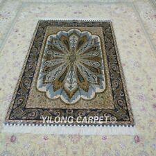 YILONG 4'x6' Handmade Silk Carpet Antistatic Green Oriental Area Rug YWX113A