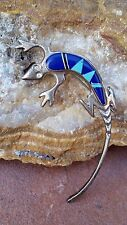 "Vintage Sterling Silver Turquoise & Blue Lapis Lizard Pin Signed M 2 5/8"" 11.8 g"