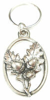 Oak Leaves and Acorn Handcrafted from Solid English Pewter In the UK Key Ring