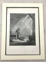 1870 Originale Vittoriano Stampa la Vergine Mary Archangel Gabriel Annunciazione