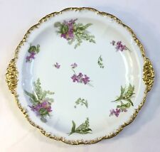 """1891 Jean Poyat Limoges France 13"""" LILY OF THE VALLEY BLUE BUTTERCUP Platter"""