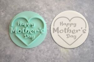 Happy Mother's Day Embosser Stamp Cookie Fondant Heart