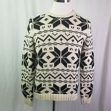Ralph Lauren Green Label Black White Crew Neck Cable Knit Sweater Size Large