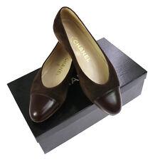 Authentic CHANEL Vintage CC Logos Bicolor Pumps Brown Suede Leather #5 Y02178i