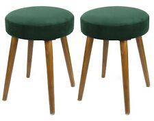 2 taburetes Glam color verde acolchado patas madera salón dormitorio 49x36 cm
