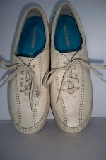 "Women's 7 NARROW  Hush Puppies ""Energetic"" Stone Leather Flat Tie Shoes Oxfords"