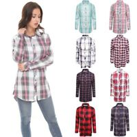 Womens Check Shirt Ladies Long Sleeve Plaid Check Summer Mini Dress UK Size 8-16