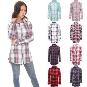 Womens Check Shirt Ladies Long Sleeve Plaid Check Summer Mini Dress UK Size 8-18