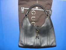 Authentic GUCCI BARDOT Black Pebbled Textured Leather Fabulous HANDBAG