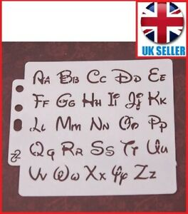 ALPHABET LETTERS STENCIL 13 cm x 13 cm Disney style Lettering Art craft Plastic