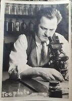 Vintage Old 1930's Photo of Man Chemist Scientist Looking Through Microscope 🌝