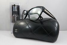 Chanel 3307 c.943 Shiny Black/Tan New Authentic Eyeglasses 55mm w/Case