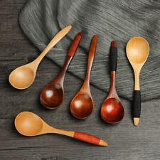 Japanese Wooden Spoon Handmade Soup Spoon Handle Home Kitchen Tableware