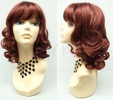 "Long Bob Auburn Red Wig Bangs Curls Retro Curly 12"" Sofia the First"
