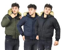 Mens Parka Jacket Bomber Fur Trimmed Hooded Winter Warm Padded Outerwear Coat