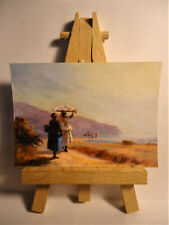 Two Women Chatting Sea ACEO Original PAINTING by Ray Dicken a Camillo Pissarro