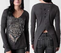 Affliction Women Long Sleeve T-Shirt ABRASIVE Charcoal BKE Buckle Sinful S-L $64