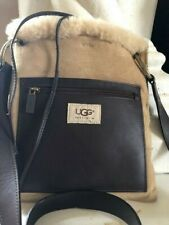 """UGG Purse Tan Cross Body Bag Suede Brown leather Lamps Wool  10"""" X 9""""  21"""" strap"""