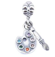 925 sterling silver Artist's Palette Brush Dangle Charm CZ fit European Bracelet