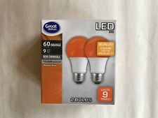 2 We Are ORANGE Color LED 60 Watt Equivalent A19 9W E26 2 FOR 1 Bulbs BONUS SALE