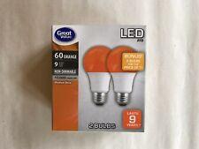 2 We Are ORANGE Color LED 60 Watt Equivalent 9W A19 2 FOR 1 Bulbs BONUS SALE