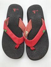 Sanuk Flip Flops Shoes Sandals Thong Red Womens Size 6 Yoga Mat Super Comfy