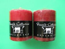 """2 NEW Pillar Candles BURGUNDY 2.8""""x3.8"""" Unscented Made in USA. Expedited Shippin"""